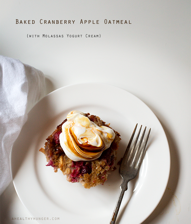 Cranberry Baked Oatmeal~ A Healthy Hunger