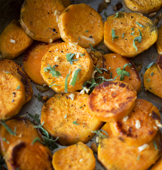 A Healthy Hunger Roasted Sweet Potato with Crispy Garlic ...